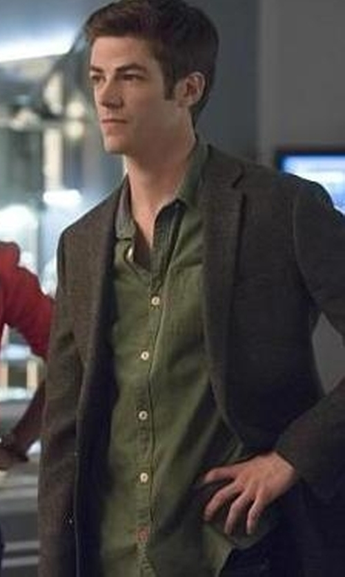 Grant Gustin with CPO Knott Multi Dot Button-DownShirt in The Flash