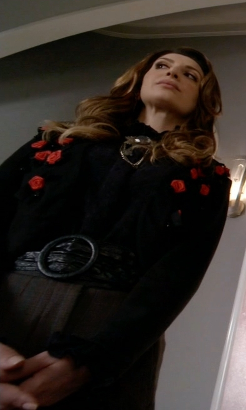 Nasim Pedrad with Moschino Vintage Cropped Floral Embroidered Jacket in Scream Queens