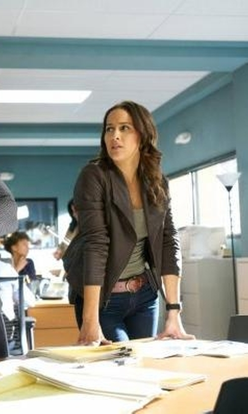 Jaina Lee Ortiz with Nic+Zoe Sundown Moto Jacket in Rosewood