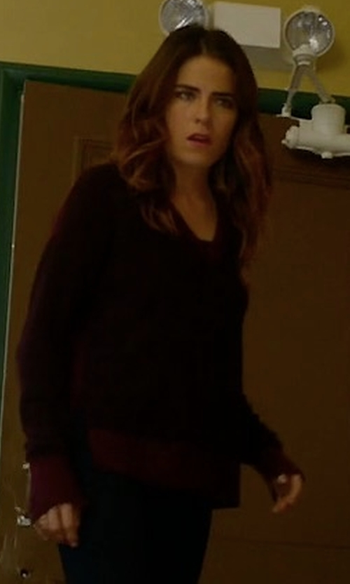 Karla Souza with Rag & Bone/Jean Taylor Merino Wool V-Neck Sweater in How To Get Away With Murder