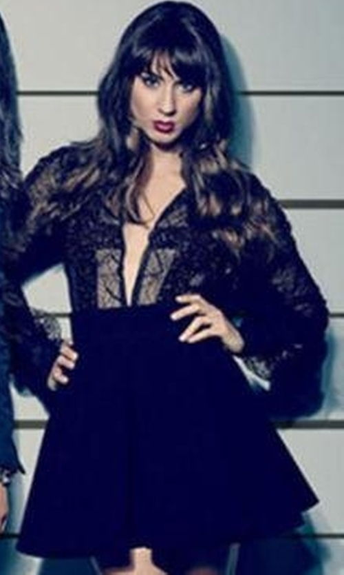 Troian Bellisario with McQ Alexander McQueen Black New Flirty Miniskirt in Pretty Little Liars