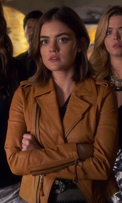 Lucy Hale with Joie Ailey Leather Jacket in Pretty Little Liars