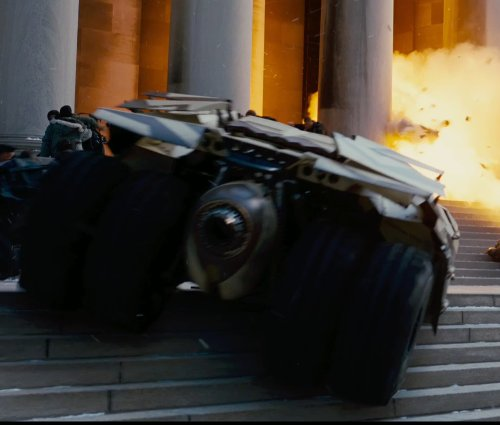 Christian Bale with Nathan Crowley (Production Designer) The Batmobile Camouflage Version (Tumbler) in The Dark Knight Rises
