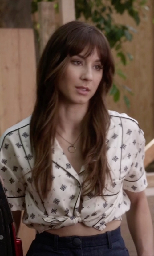 Troian Bellisario with Rag & Bone Winifred Shirt in Pretty Little Liars
