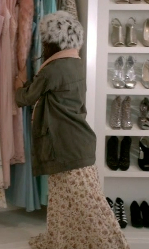 Lea Michele with Love Sam Lily Tiered Maxi Skirt in Scream Queens