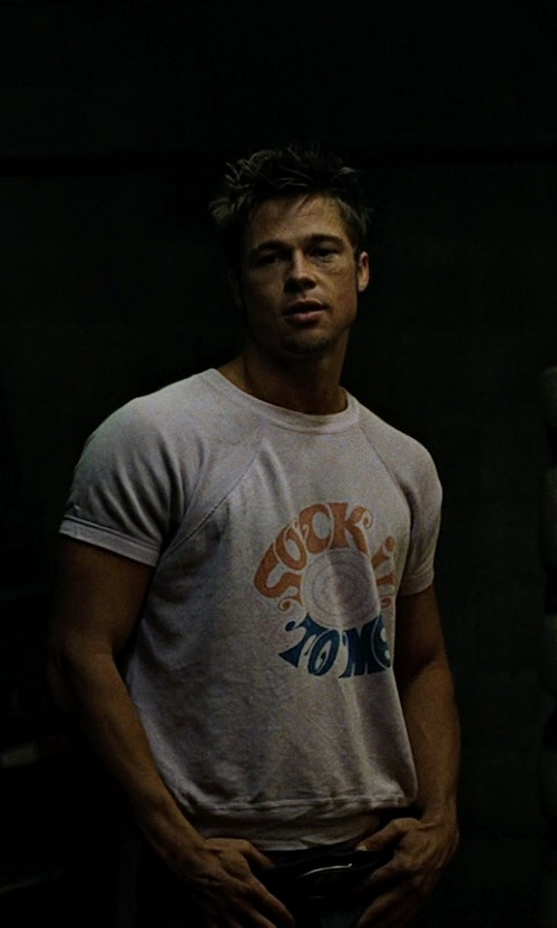 Brad Pitt with ShirtInvaders Sock It To Me Print T-Shirt in Fight Club