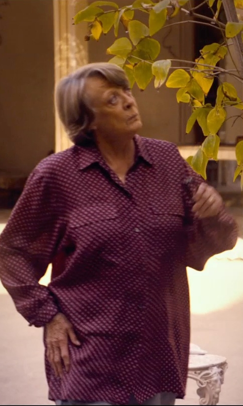 Maggie Smith with Equipment Long-Sleeve Spotted-Print Silk Blouse in The Second Best Exotic Marigold Hotel