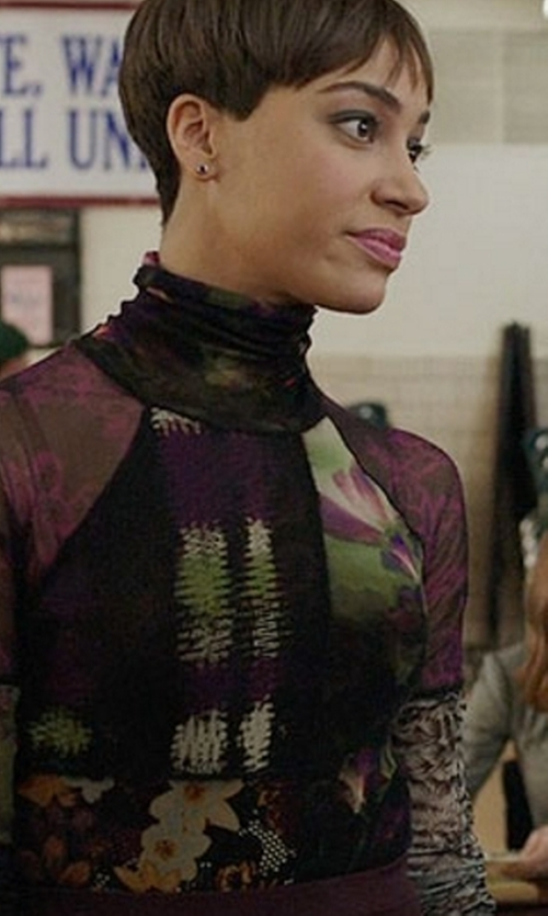Cush Jumbo with Fuzzi Mixed-Print Long-Sleeve Turtleneck Top in The Good Fight