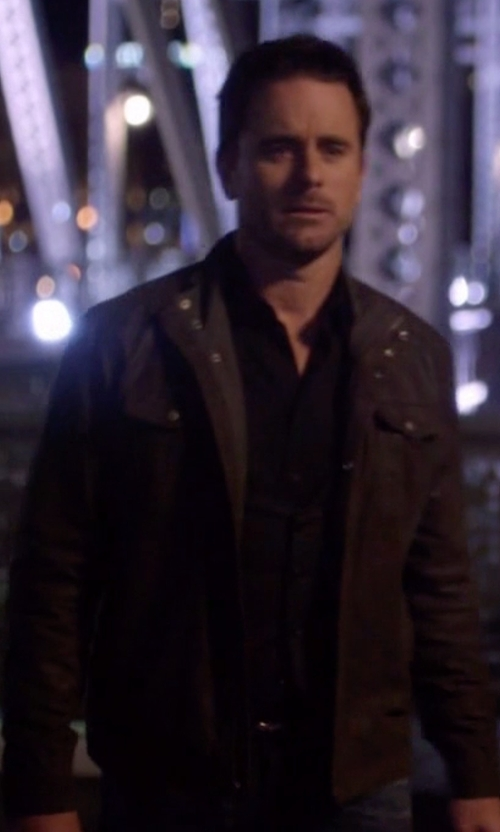 Charles Esten with Cole Haan Washed Genuine Leather Moto Jacket in Nashville