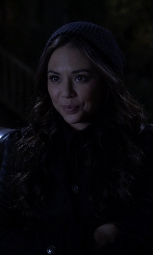 Janel Parrish with Rainforest Packable Trench Coat in Pretty Little Liars