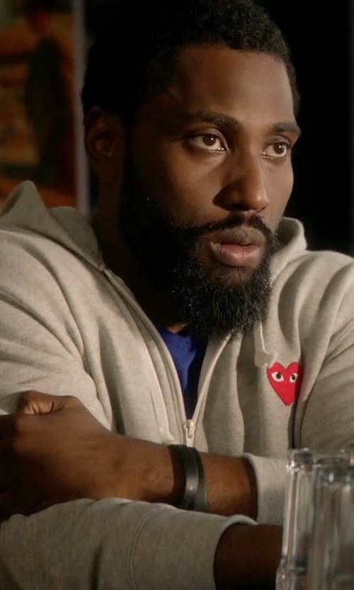 John David Washington with Access Cube Blank Silicone Bracelet in Ballers