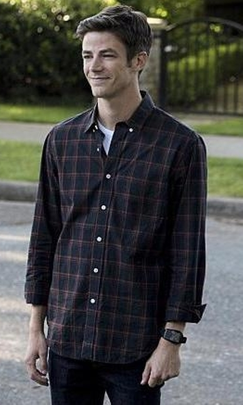 Grant Gustin with J. Crew Secret Wash Check Shirt in The Flash