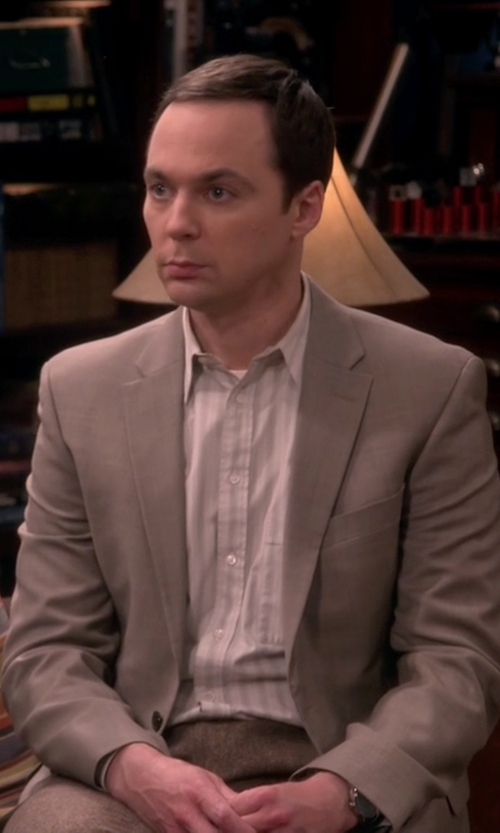 Jim Parsons with Paul Fredrick Wool Two-Button Travel Blazer in The Big Bang Theory