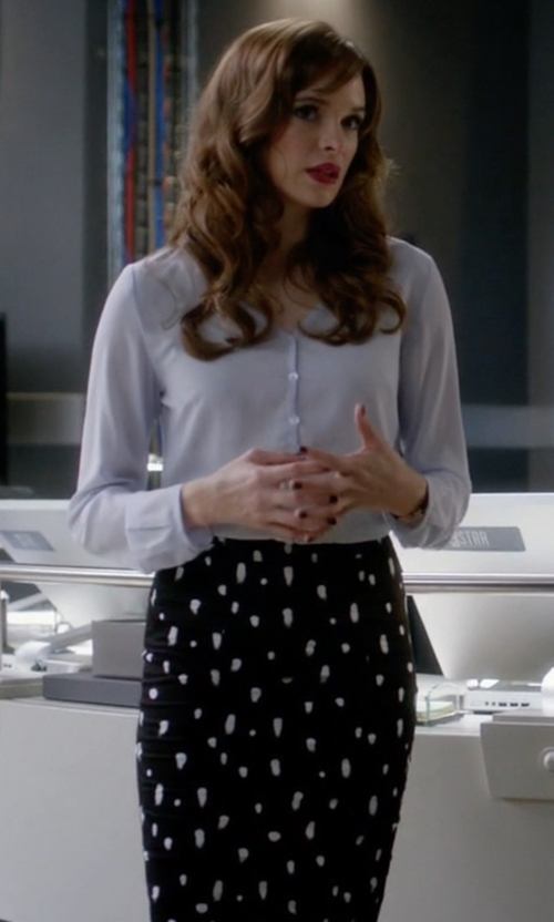 Danielle Panabaker with A.L.C. Floral-Print Pencil Skirt in The Flash