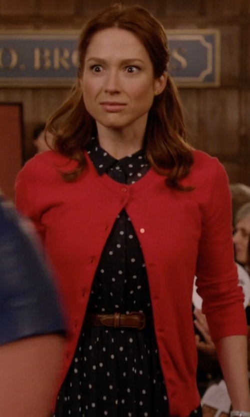 Ellie Kemper with CeCe by Cynthia Steffe Short-Sleeve Polka-Dot-Print Shirt Dress in Unbreakable Kimmy Schmidt