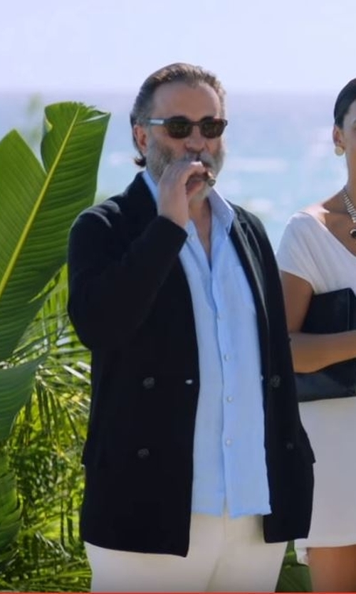 Andy Garcia with Burberry Men's Rectangular Sunglasses in Ballers