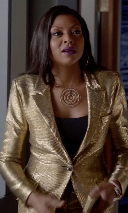 Taraji P. Henson with Michael Kors Brilliance Statement Pavé Pendant Collar Necklace in Empire