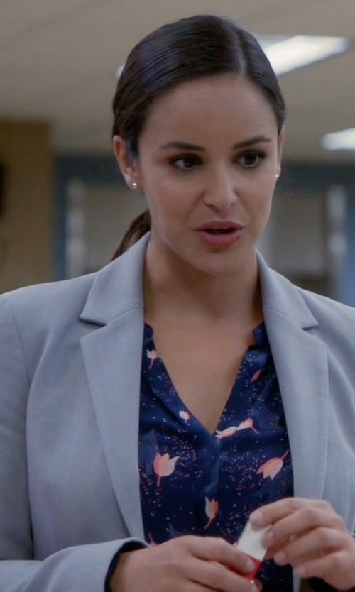 Melissa Fumero with Macchia J Single Breasted Blazer in Brooklyn Nine-Nine