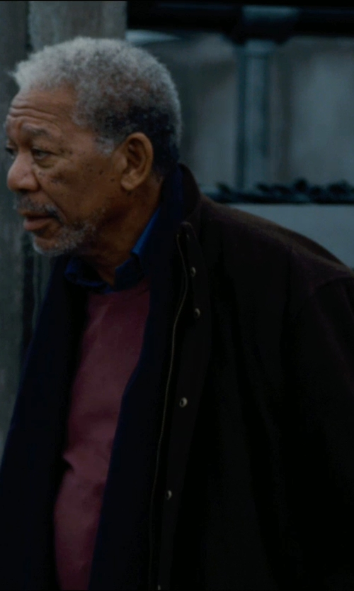 Morgan Freeman with Jos. A. Bank Herringbone 3/4 Length Topcoat in The Dark Knight Rises