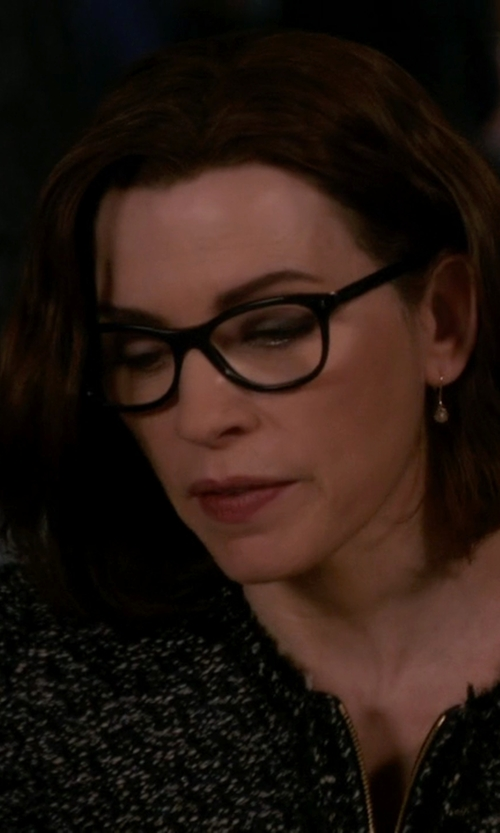 Julianna Margulies with Prada Cat-Eye Contrast-Arm Fashion Glasses in The Good Wife