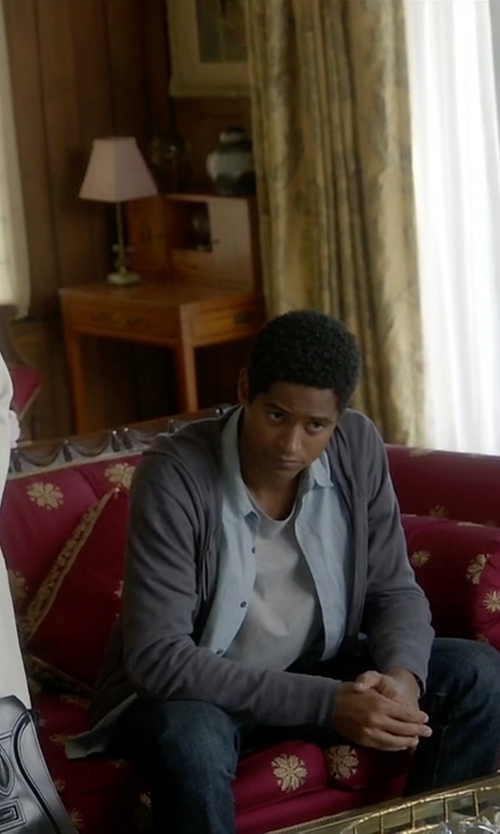 Alfred Enoch with All Saints Mode Merino Zip Hoody Jacket in How To Get Away With Murder