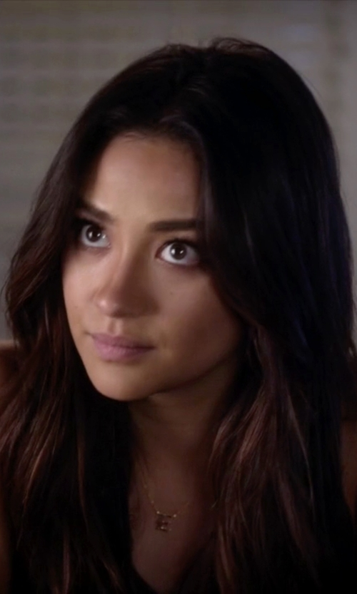 Shay Mitchell with Banvari Block Initial Necklace in Pretty Little Liars