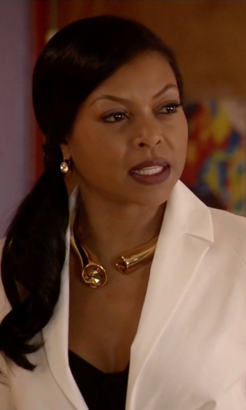Taraji P. Henson with Kenneth Jay Lane Pipedream Collar Necklace in Empire