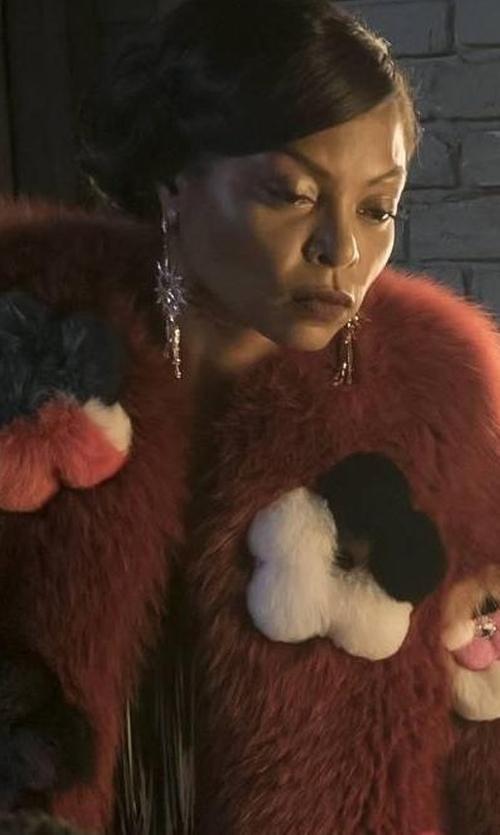 Taraji P. Henson with Dannijo Monterosso Chain-Drop Statement Earrings in Empire