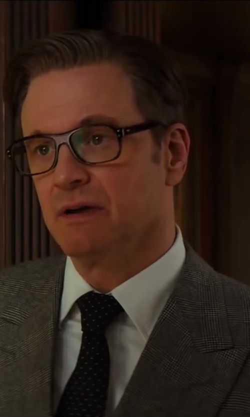 Colin Firth with Kingsman for Mr. Porter Grey Double-Breasted Prince Of Wales Check Suit in Kingsman: The Secret Service