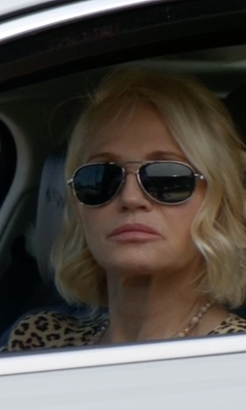 Ellen Barkin with Chloe Isidora Metal Aviator Sunglasses in Animal Kingdom