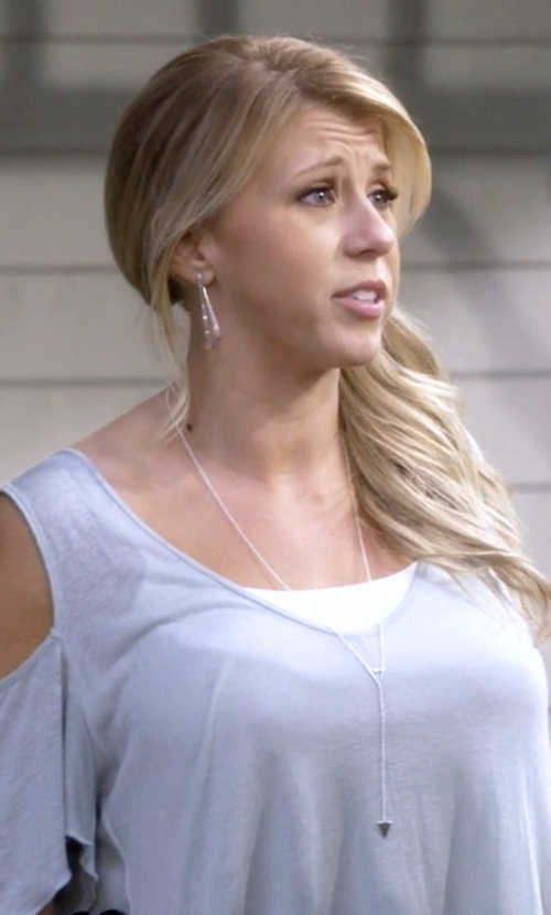 Jodie Sweetin with Free People Bittersweet Cold Shoulder Top in Fuller House