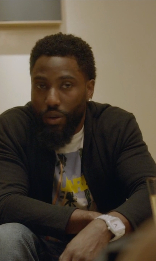 John David Washington with Nixon Automatic Dial Ceramic Watch in Ballers