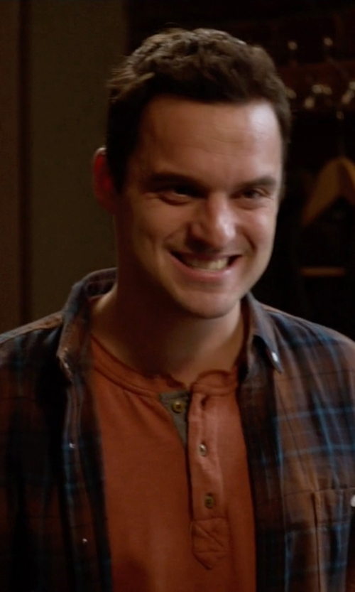 Jake Johnson with Inis Meain Plaid Felt Overshirt in New Girl