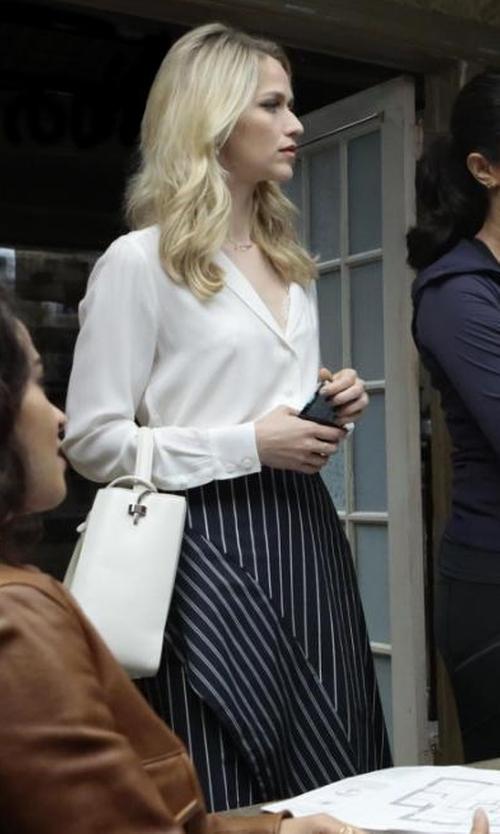 Johanna Braddy with N Nicholas Striped Poplin Skirt in Quantico