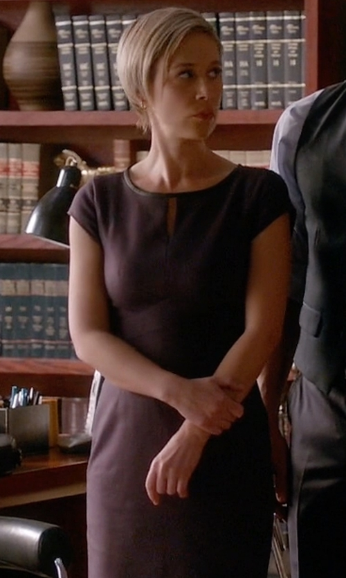 Liza Weil with Classiques Entier Leather Trim Cap Sleeve Ponte Sheath Dress in How To Get Away With Murder