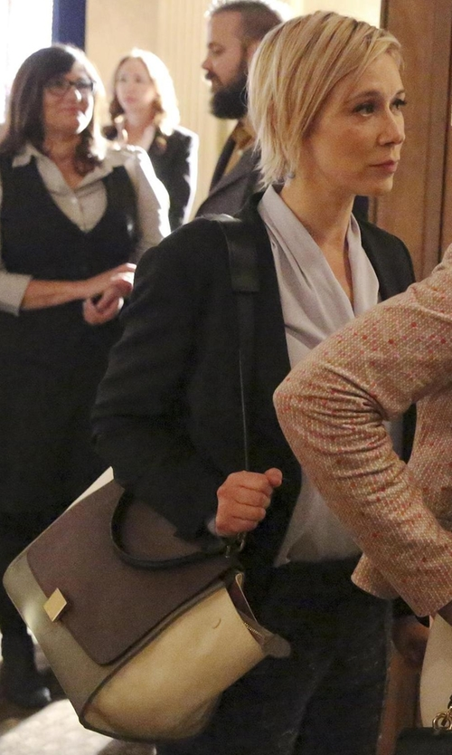 Liza Weil with Celine  Colorblock Trapeze Bag in How To Get Away With Murder