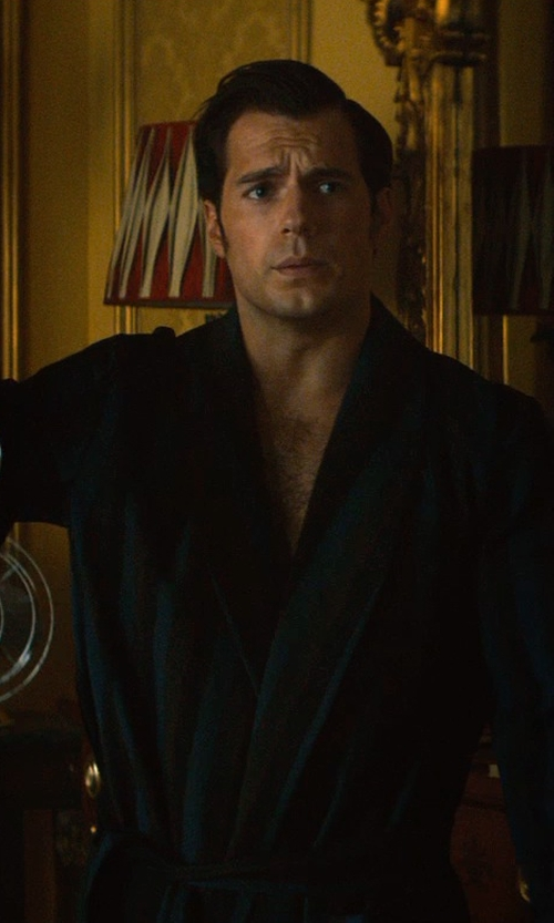 Henry Cavill with Majestic International Herringbone Stripe Jacquard Shawl Robe in The Man from U.N.C.L.E.