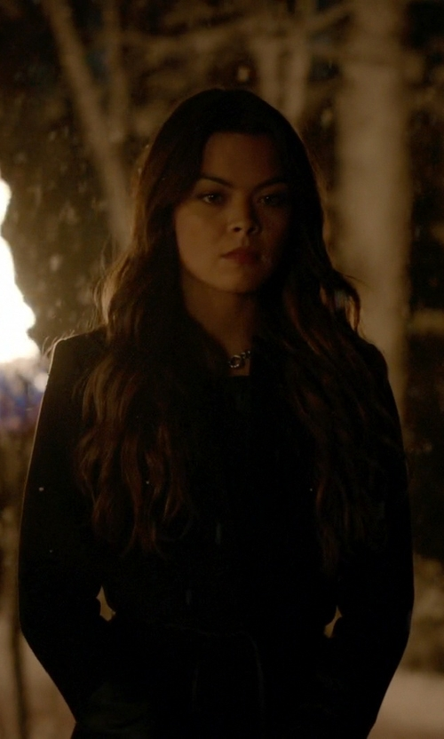 Scarlett Byrne with New York & Company Boucle Shawl-Collar Wool-Blend Coat in The Vampire Diaries