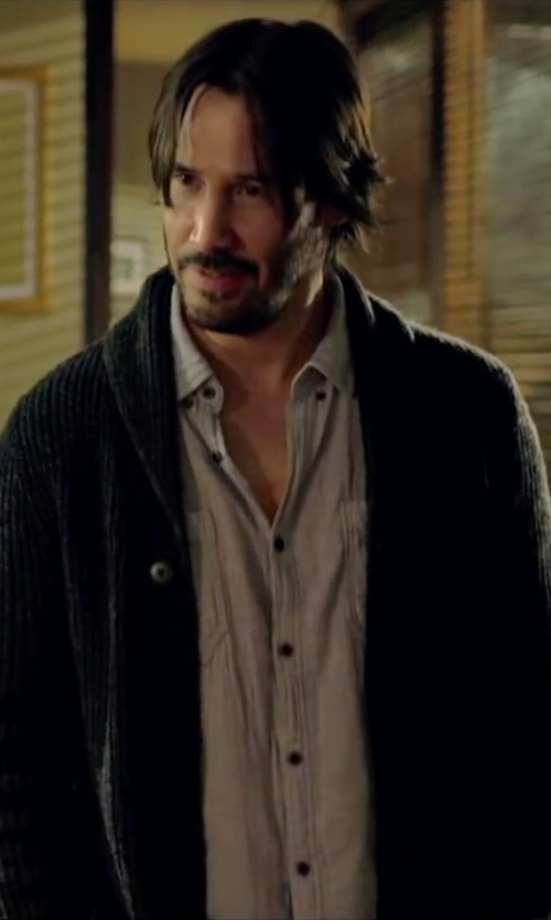 Keanu Reeves with Rag & Bone 'Avery' Shawl Collar Cardigan in Knock Knock