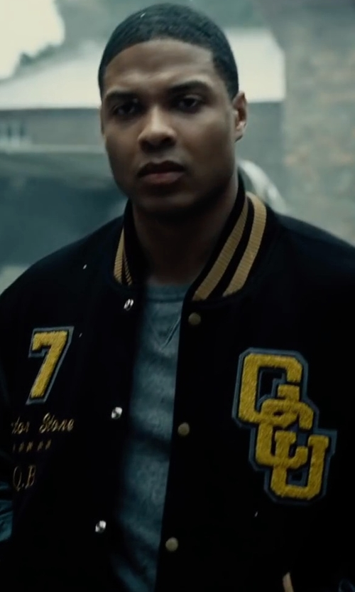 Ray Fisher with Opening Ceremony Logo Leather-Sleeve Varsity Jacket in Justice League
