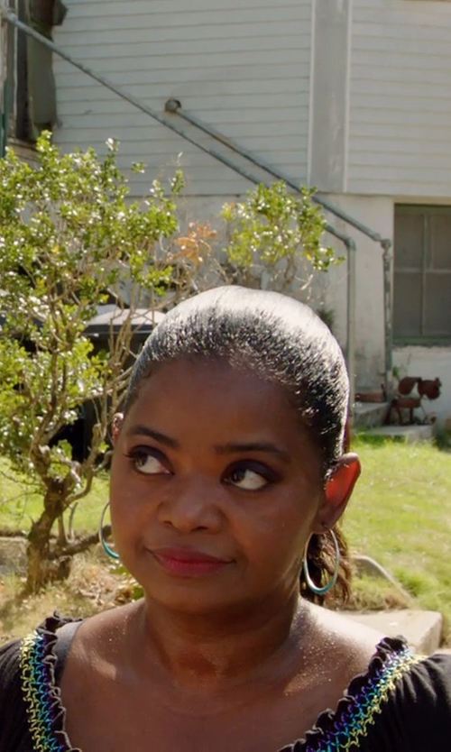 Octavia Spencer with Lord & Taylor White Gold Polished Hoop Earrings in Black or White