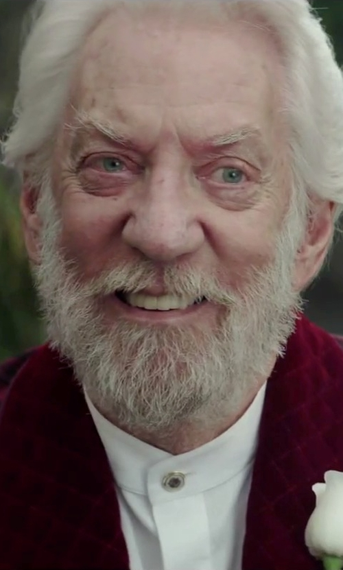 Donald Sutherland with Armani Collezioni Mandarin Collar Cotton Shirt in The Hunger Games: Mockingjay - Part 2