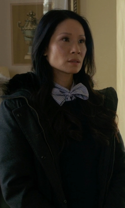 Lucy Liu with Canada Goose Kensington Parka jacket in Elementary