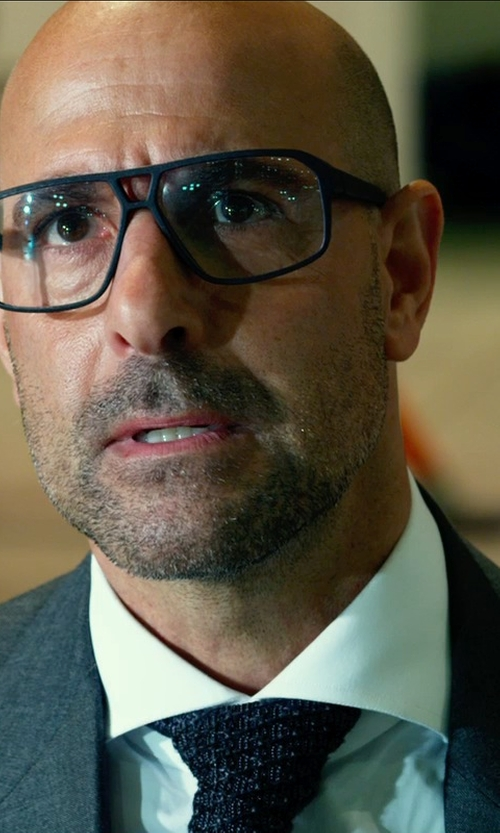 Stanley Tucci with HUGO BOSS 'Marlyn' Sharp Fit Tuxedo Shirt in Transformers: Age of Extinction