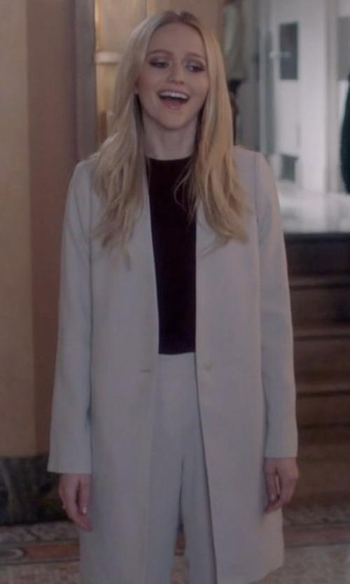 Johanna Braddy with MM6 Maison Margiela Wool Overcoat in Quantico