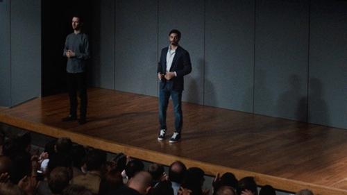 Riz Ahmed with Jean Shop Jim Skinny-Fit Selvedge Rinsed-Denim Jeans in Jason Bourne