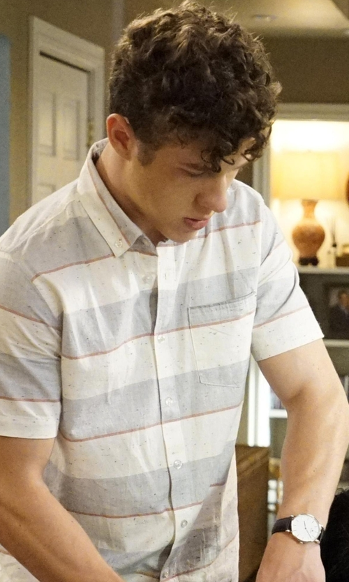 Nolan Gould with Triwa 'Klinga' Leather Strap Watch in Modern Family