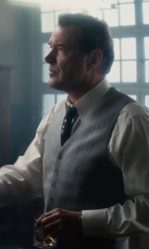 Sebastian Koch with David Donahue Trim Fit Solid French Cuff Tuxedo Shirt in Bridge of Spies