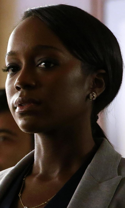 Aja Naomi King with EF Collection Diamond Fade Multi Huggie Earrings in How To Get Away With Murder
