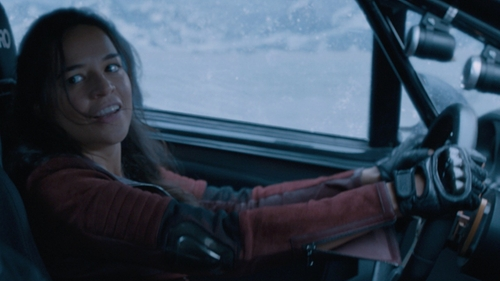 Michelle Rodriguez with Karl Lagerfeld K/Ikonik Embellished Fingerless Leather Gloves in The Fate of the Furious